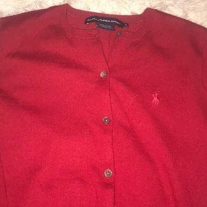 Red button up Ralph Lauren sweater M